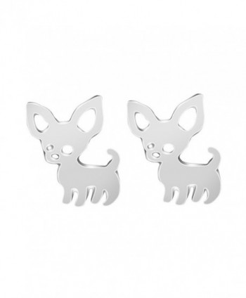 Cute chihuahua stud earrings- silver - Silver Plated - C312NS3VGH2