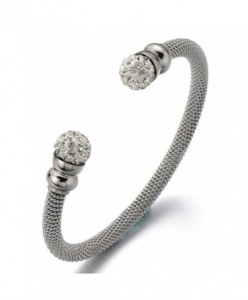 Elastic Adjustable Ladies Stainless Steel Bangle Bracelet with Cubic Zirconia - 1 - CJ12887W8Y9