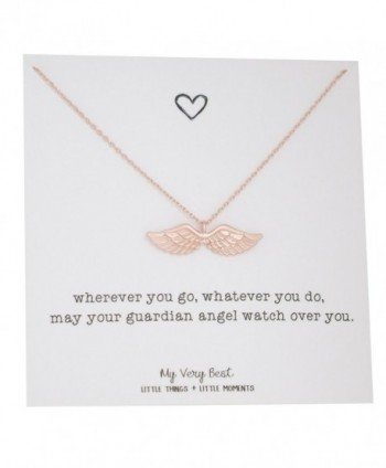 My Very Best Dainty Angel Wing Necklace - rose gold plated brass - CT188K4MHLC
