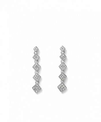 Linear Drop Earrings Single Strand Rhinestone Ear Studs Dangle Crysral Earring Set - silver- drop- rhombus - C412NZY4WSY