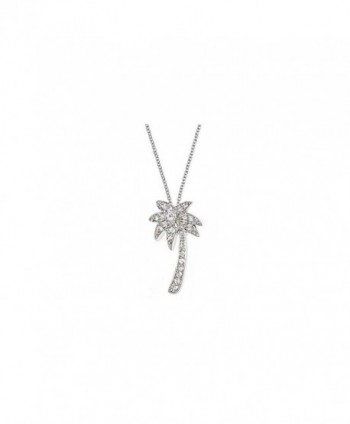 Sterling Forever 925 Sterling Silver CZ Palm Tree Pendant Necklace - C312O8Z7HZ1