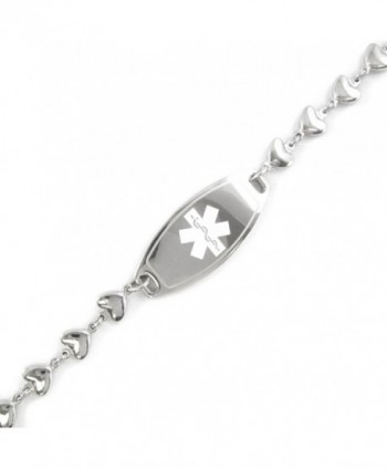 MyIDDr - Pre-Engraved & Customizable Diabetes Type I ID- Medical Alert Bracelet- Heart Chain - CB11CK0B9YB