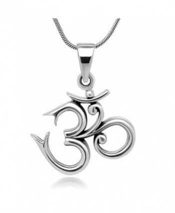 Sterling Silver 19 mm Aum Om Ohm Sanskrit Symbol Yoga Charm Pendant Necklace 18'' - CQ11WYKV19Z