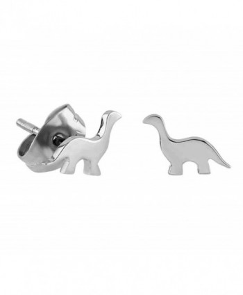 Tiny Stainless Steel Brontosaurus Dinosaur Stud Earrings - CO17YCUA8Z3