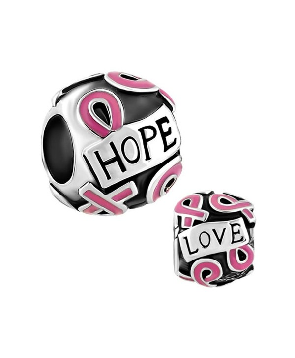 CharmsStory Breast Cancer Awareness Pink Ribbon Charms Beads For Bracelets - CS128DKAGHB