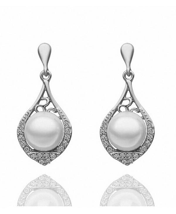 Vintage Lady Stud Earrings Hollow Out Water Drop Crystal Pearl Ear Studs Dangle Earring for Women - CO11V4L6HET