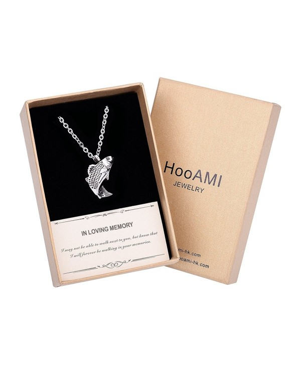 HooAMI Cremation Jewelry Fresh Water Fish Pendant Memorial Urn Necklace - Fish(Gift Box) - CV1854377SK