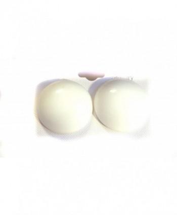 White Earrings White Pierced Earrings Large Round White Earrings 1.5 inch - CD127NYPFA1