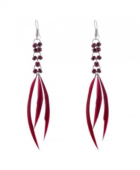 lureme Bohemian Jewelry Feather Earrings Tassel with Beads Decoration for Women Girls (er005298) - Burgundy - CZ12MXCU7PW