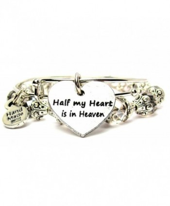 2 Piece Set Half My Heart Is in Heaven Bangle Bracelet Collection - C611P1IB2BJ