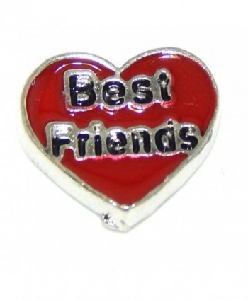 "Jewelry Monster ""Best Friends on Red Heart"" for Floating Charm Lockets - CI11V7R49WH"