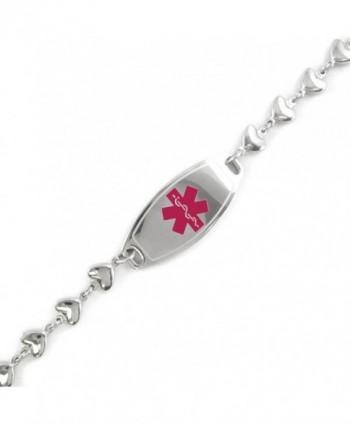 MyIDDr - Pre-Engraved & Customizable Alzheimers ID- Medical Alert Bracelet- Heart Chain - C011CK9H59Z