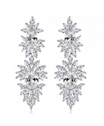SELOVO Bridal Leaf Cluster Luxury Pierced Large Dangle Earrings Silver Tone Clear Zircon Crystal - C112GTX9QUX