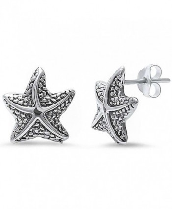 12mm Starfish Earrings 925 Sterling Silver Simple Plain Starfish Stud Nautical Jewelry - Sterling Silver - CH17Z3ZNSU6