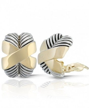 JanKuo Jewelry Two Tone X Shape Twisted Rope Clip On Earrings - C8127BQO4I1