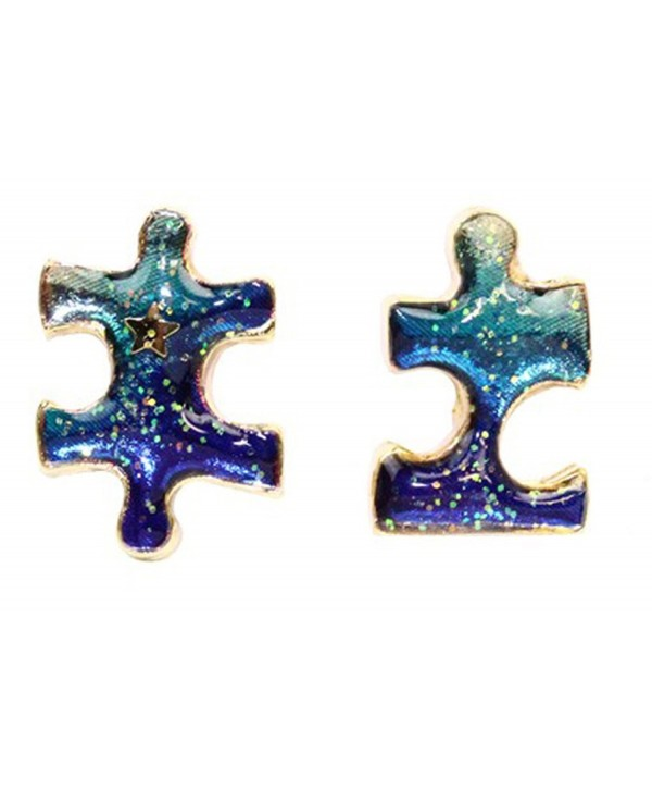Puzzle Piece Galaxy Universe Print Jewelry Stud Necklace Earrings - CW1275IWSV5