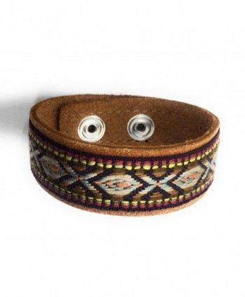 Most Wanted Cuff Leather Embroidered Bracelet - Leather - CU12NAF2N92