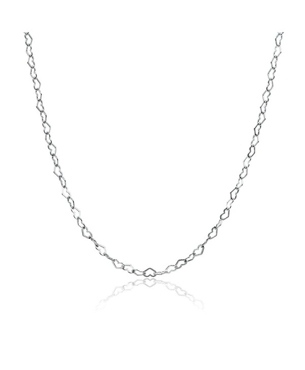 Sterling Silver Heart Link Chain Necklace- 16 inches 20 inches 24 inches or 30 Inches - sterling-silver - CW186KST47L