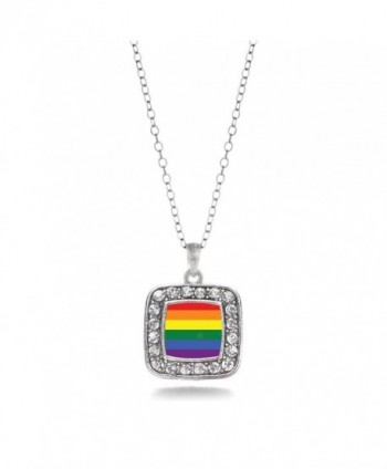 LGBT Gay Pride Charm Classic Silver Plated Square Crystal Necklace - C011MCHUAQT