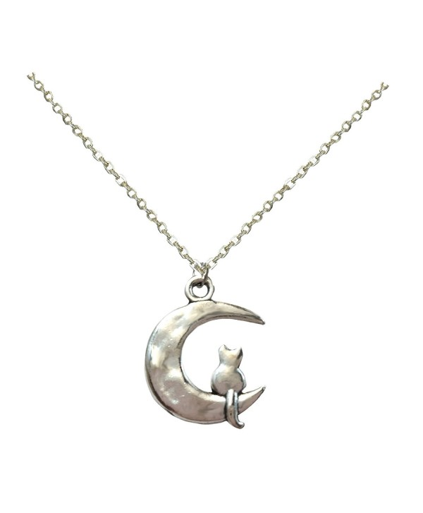 Li-Jacobs Silver Kitty Cat on Moon Pendant Necklace For Women Girls Granddaughter Fashion Jewelry - CI120ZG0ZB9