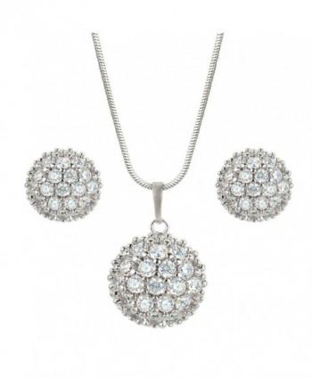 EleQueen Women's Silver-tone Cubic Zirconia Wedding Ball Pendant Necklace Stud Earrings Set Clear - CY11W8PU7QJ