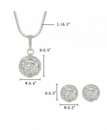 EleQueen Silver tone Zirconia Necklace Earrings