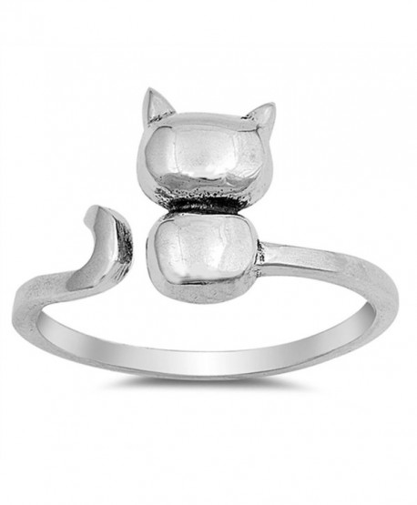 Open Cat Kitten Pet Animal Cute Ring New .925 Sterling Silver Band Sizes 4-12 - C912N6E76P1