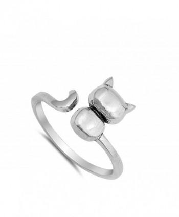 Open Kitten Animal Sterling Silver