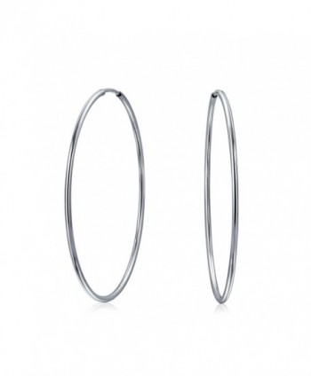 Bling Jewelry Thin Continuous Endless Sterling Silver Hoop Earrings - CB11GSJ7PO3