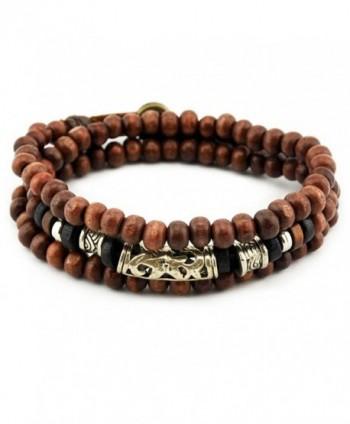 Konalla Wooden Beaded Long Wrap Twine Bracelet Multistrand Unisex Wristband - CF12NUOS8SB
