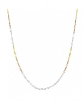 14k Tri-color Gold over Sterling Silver 1.5-mm Round Cable Chain (24 Inch) - CJ118NSRV55