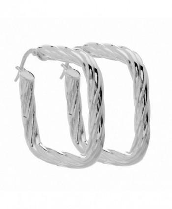 Amoro Italian Sterling Silver Twist Cushion Earrings 33mm x 33mm - CW115DQ9P8L