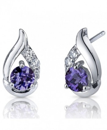 Simulated Alexandrite Earrings Sterling Silver 1.50 Carats Cuff Style - C0116LWIS7F