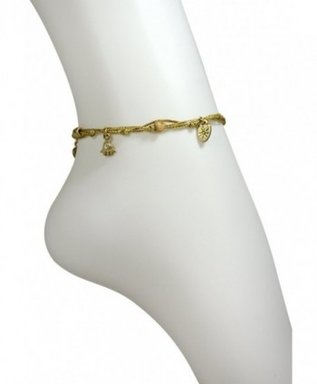 Gold Ankle Bracelet With Gold Plated Hamsa Protection Charm- Love & Good Luck Charms - CJ115UHGECD