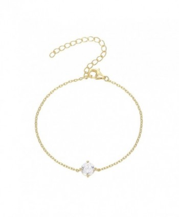 "PAVOI 14K Gold Plated ""Hearts & Arrows"" Simulated Solitaire Diamond Bracelet (CZ - D Color- VVS Clarity) - C812O5INJHP"