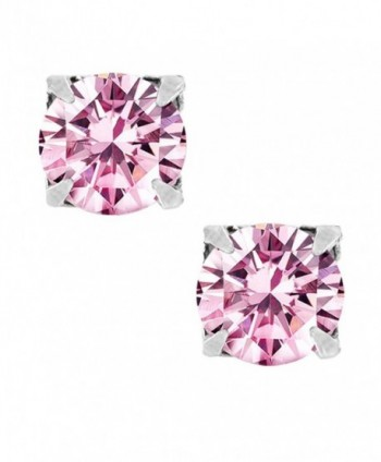 Pink Round Cut CZ Sterling Silver Magnetic Stud Earrings - C41170S28BV