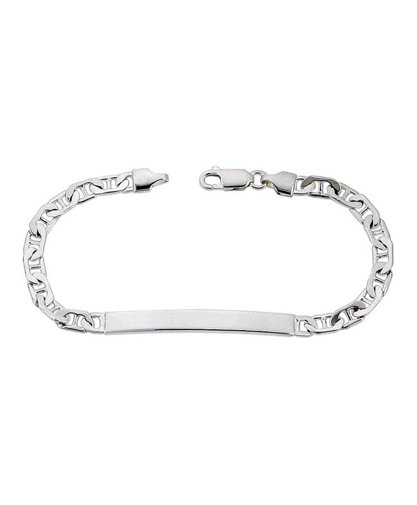 Sterling Silver ID Bracelet Mariner Link Small 3/16 inch Nickel Free Italy- sizes 7 -9 inch - C21126NU0O7