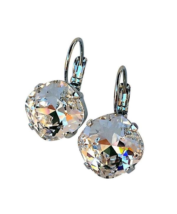 HisJewelsCreations Cushion Cut Large Square Stone Silver-tone Earrings - Clear - CN122BFMOEN