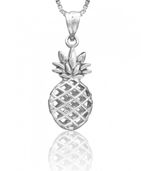"""Sterling Silver Pineapple Necklace Pendant with 18"""" Box Chain - CB11J23M69L"""
