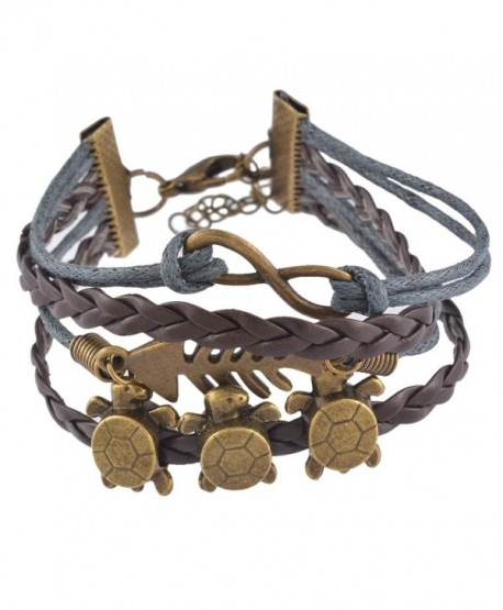 Souarts Brown Handmade Braided Multilayer Retro Turtles Fishbone Artificial Leather Wristband Bracelet - CL1234RUKLV