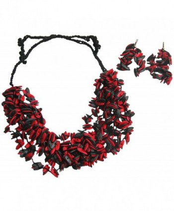Fair Trade Black & Red Short Melon Seed Necklace & Earring Set- Colombia - CQ11FU05NJF