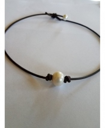 Seasidepearls30A Pearl and Brown 17in Genuine Leather Necklace/Choker - CN127Y8U9NZ