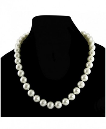 Cream White 8mm Simulated Faux Pearl Necklace Hand Knotted Strand 18 Inch - CL12NESR5VC