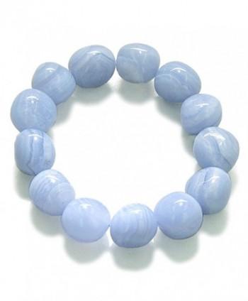 Amulet Healing Blue Lace Agate Tumbled Crystals Gemstone Bracelet - CW115V1DYML