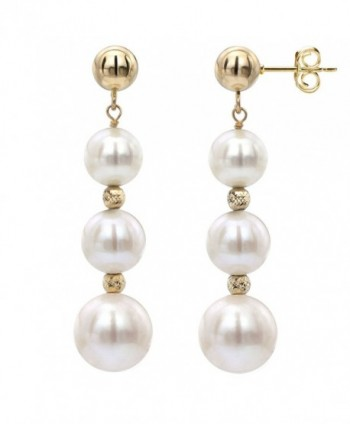 18k Yellow Gold Plated Silver 7-7.5mm White Freshwater Cultured Pearl Stud Dangle Earrings - CW12NRZ5F2P