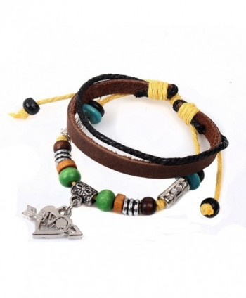 Real Spark Womens Grils Love Gift the Arrow of Love Pendant Leather Beads 3 Layer Charm Wrap Bracelet - C61280DFYQ5