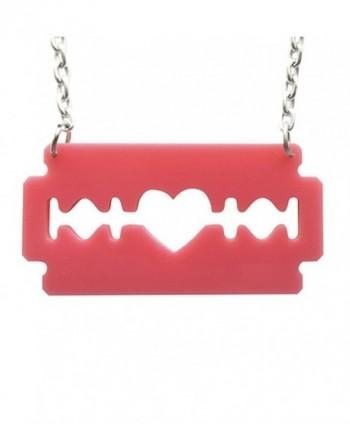 Razorblade Necklace in Bubblegum Pink Laser Cut Acrylic- Razor Blade - CY11DPYDR4B