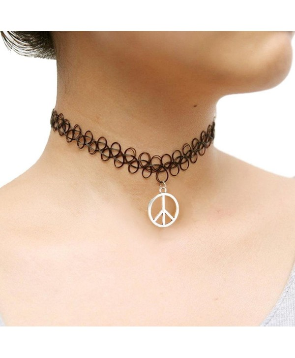 Ammazona Tattoo Choker Stretch Necklace Black Retro Henna Vintage Elastic Boho 90s Gothic - CS12HD446XT