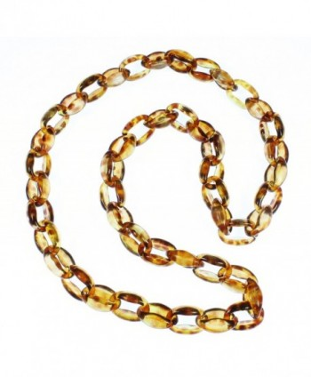 Lovely Links No.1 Tortoise Shell Pattern Acrylic Long Necklace- 32 Inches - CA12BJSTPNB