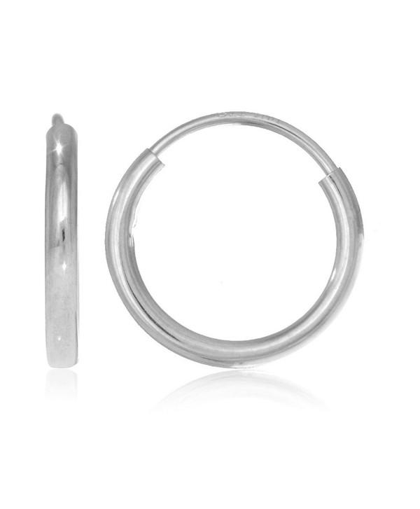 14k White Gold Endless Hoop Earrings 14 Mm Cc11xymy37j